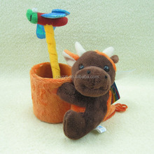 Cute plush cow pen container/plush Lead pen container/Plush cow pencil vase for promotion