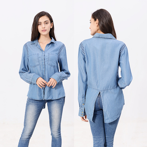 Factory supplier top quality low price washed denim ladies shirt simple design