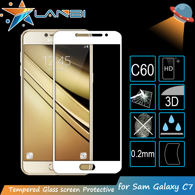 Colored Glass 3D Curved Carbon Fiber Full Cover Tempered Glass For Samsung Galaxy C7 Screen Protector