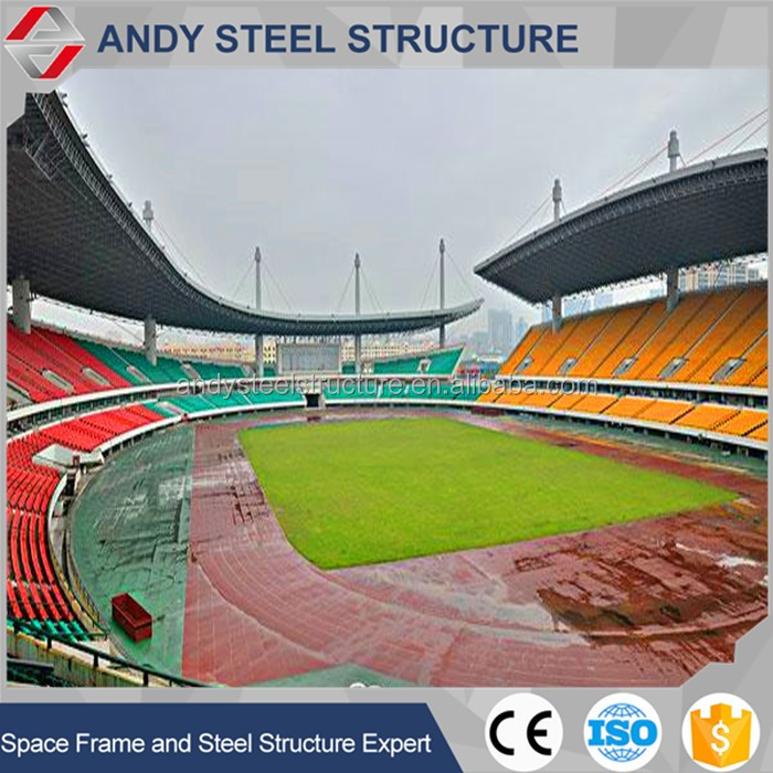 prefabricated house long span steel structure space frame for Qualified Steel Structure Space Frame Bleacher/Gym/Stadium