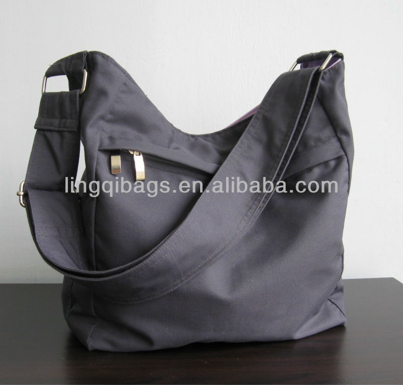 Plain Grey Canvas Crossbody Shoulder Sling Bag Cement For Women Bags Product On