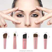 Mini portable travel 5pcs professional makeup brush set / beauty need cosmetic brush / metal cylinder cosmetic brush