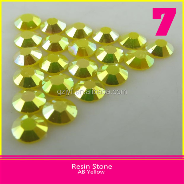 AB Yellow Lead Free Iron on loose Resin Rhinestone Flatback Round Hotfix Resin Stone 2mm/3mm/4mm
