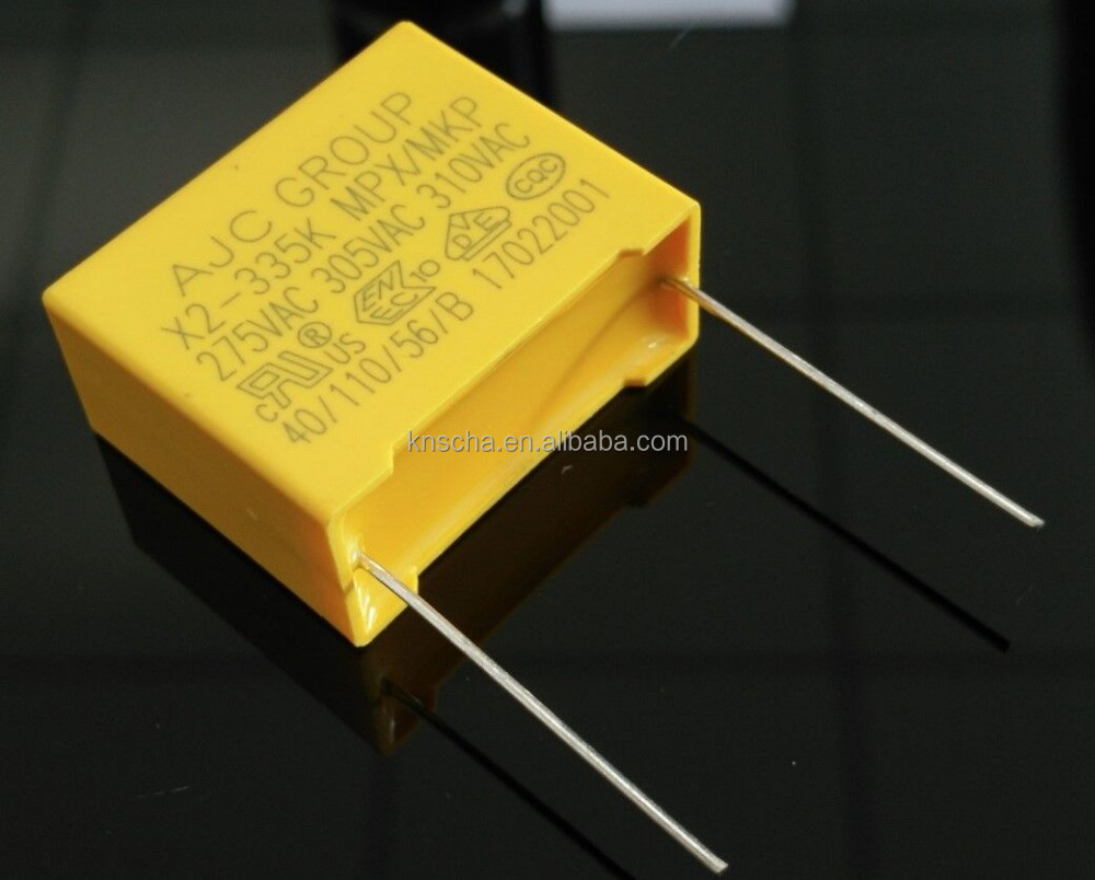 AJC Brand Yellow Polypropylene Film Capacitor Box Type MKP X2 Capacitor 224K 275VAC.Widely used in Electric power.