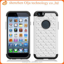 Olja new hot item rhinestone silicone with pc 2 in 1 mobile phone case for iphone 6 plus