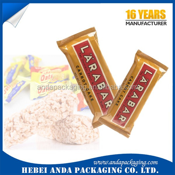 Food grade cereal bar packaging energy bar plastic bag for Food bar packaging