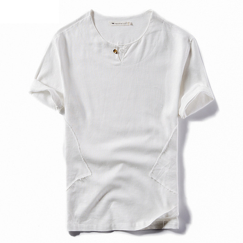 Wholesale Custom Cotton Linen Crew Neck Plain White Men T Shirt