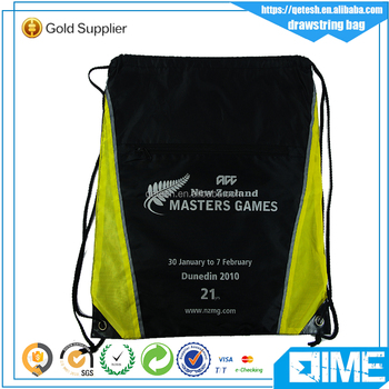 Top quality Promotional custom polyester leather corner drawstring bags