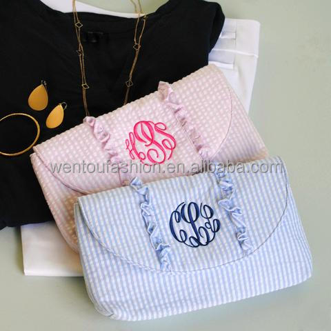 Wholesale Monogrammed Preppy Seersucker Clutch bag