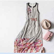 Evening dresses high-end party dress fashion handmade flowers printing double -deck silk dresses