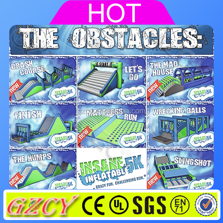 Guangzhou inflatable 5k adult inflatable obstacle course for sale