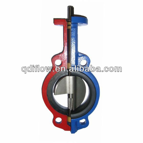 Long neck butterfly valve with wafer lug connection