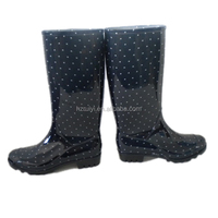 women fancy dot print PVC rain boots,good quality waterproof jelly shoes,antiskid cleaning shoes