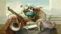 Godefroy_Violin_and_other_instruments_1862 Classicism Oil Painting