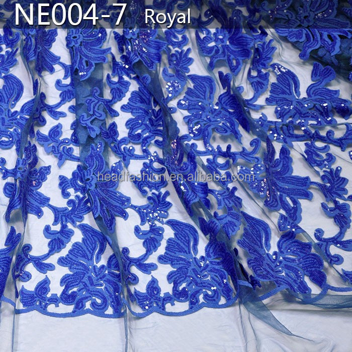 NE004-7 royal blue french lace applique with sequins