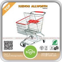 "Food Plastic Supermarket Shopping Trolley with 5"" TPU wheels"