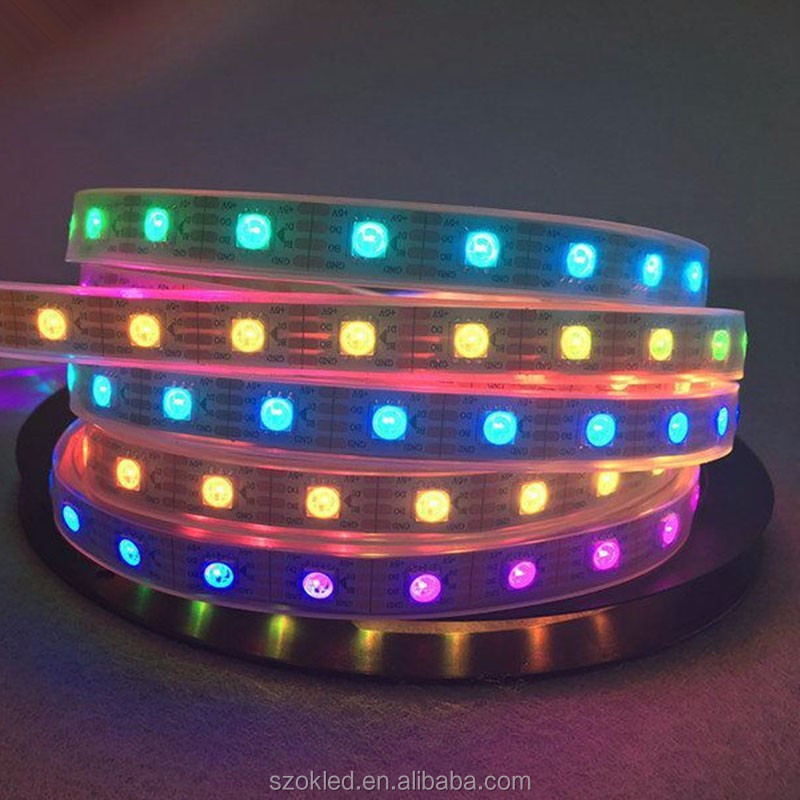 Waterproof WS2813 5050 30leds/m LED strip white PCB Colorful DC 5V led lights Like horse running,water for decoration