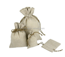 Natural Raw Cotton Linen Yarn Drawstring Bags/Linen Yarn Bag