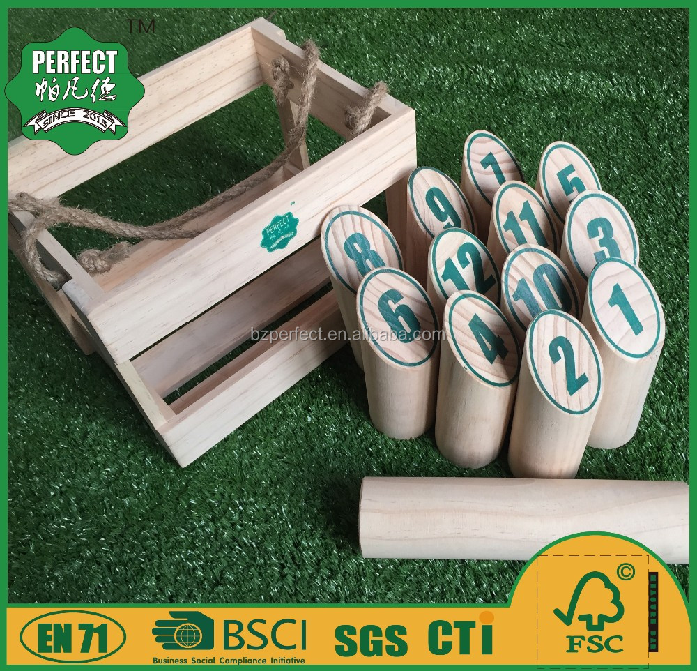 wooden yard bowling molkky game set finnish skittles game for garden game