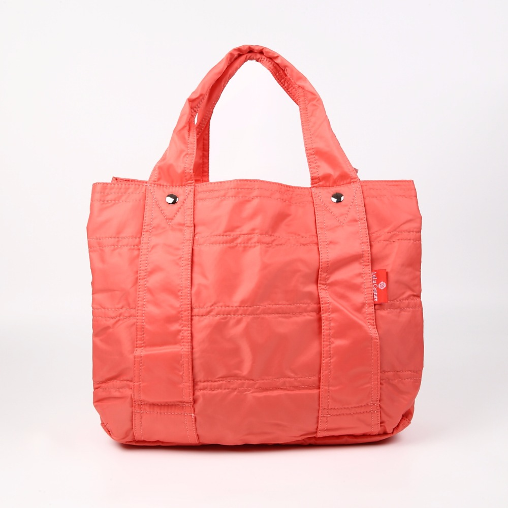 3 compartments big nylon tote bag for travel and daily usage mother bag salmon pink