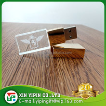 Top selling LED Light 8gb glass usb flash drive with custom laser logo