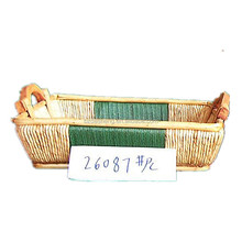Hand weave wicker plant basket with handles for food