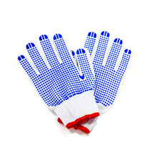 10gauge white cotton hand gloves with blue pvc dots