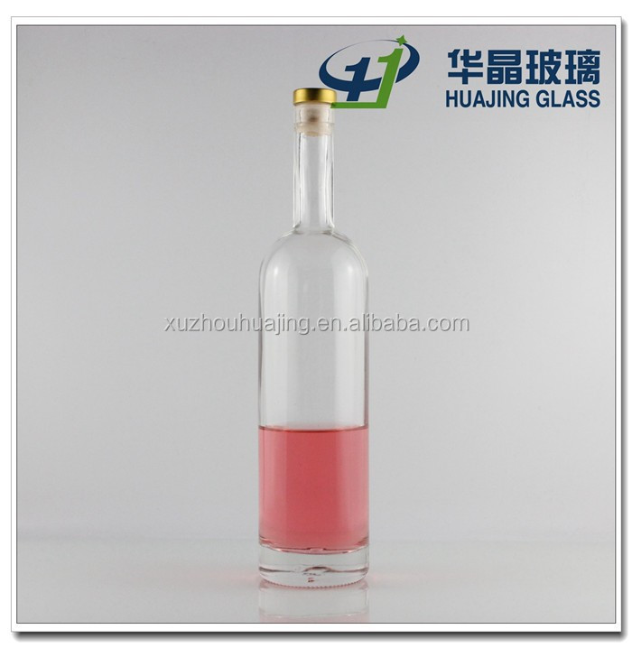 High quality 750ml handmade glass bottle with cork for red wine wholesale xuzhou manufactory