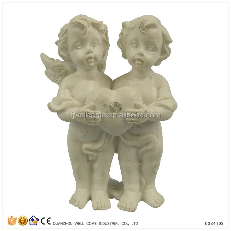 Cheap Modern Resinic Gifts Holding Heart Twins Baby Angel Figurines