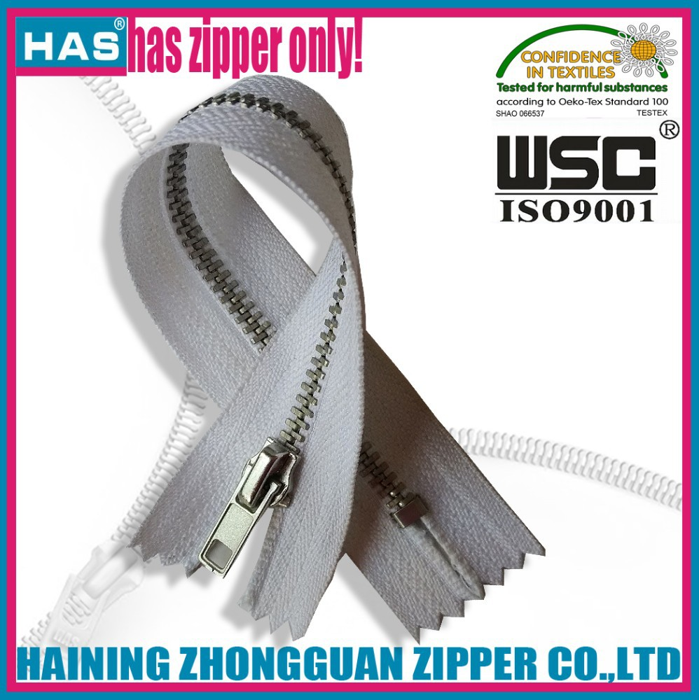 HAS zipper #3 close end nickel silver teeth one puller garment metal zipper textile fasteners