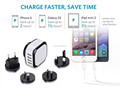 Cheap Wholesale 4 Port USB Travel Charger For Iphone cell phone, Interchangeable Plug Universal Usb Charger