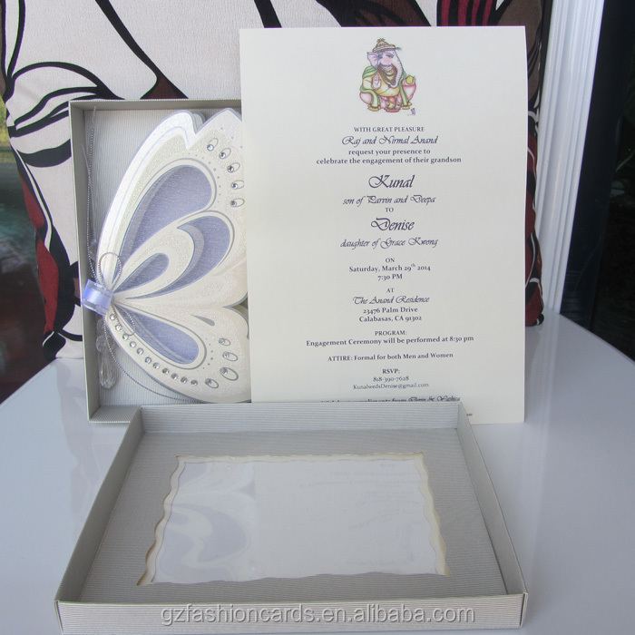 2014 Unique Luxury Butterfly Wedding Card