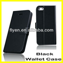 2013 New Factory Wholesale Plain Genuine Leather Case For iPhone 5 Hot Selling Wallet Case Magnetic Buckle Clip & Card Holder