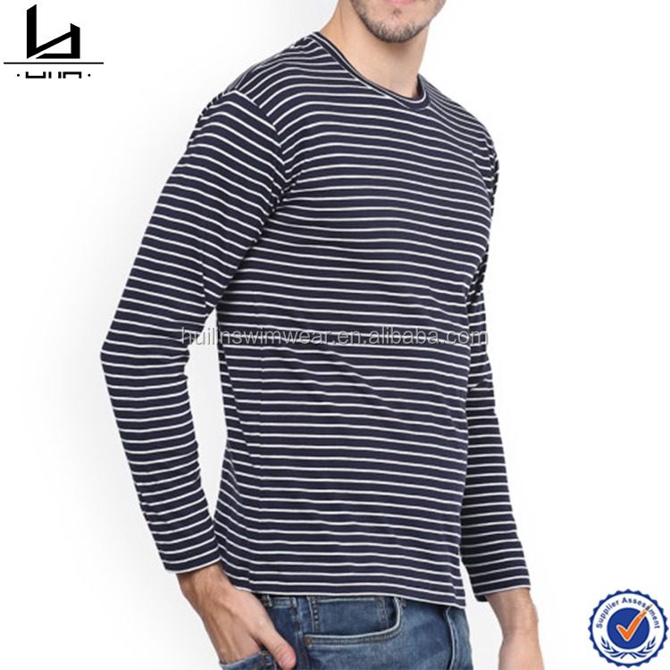 Cotton material slim fit white and blue stripe t shirt rounded neck long sleeved shirt t-shirt printing