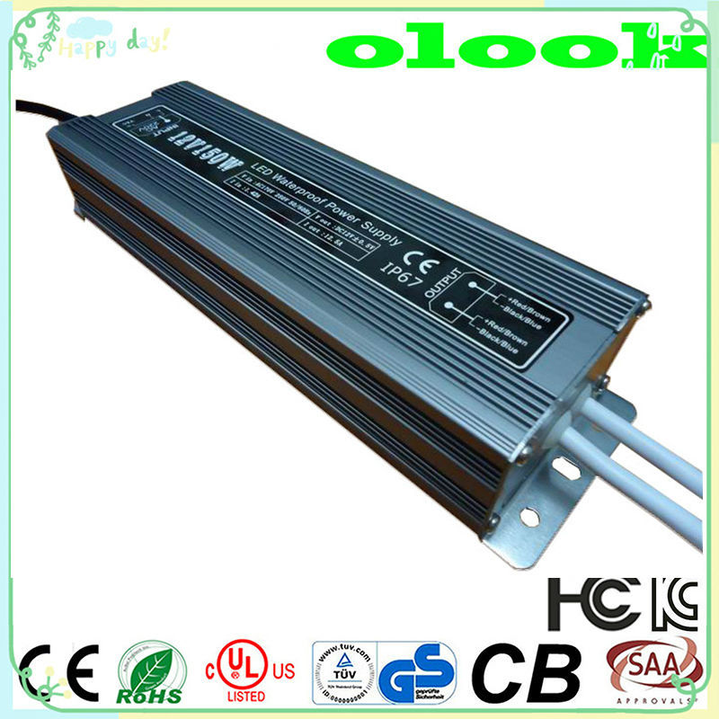 waterproof IP67 150W LED driver switching power supply 12V 24V for LED light with CE ROHS 2 years warranty