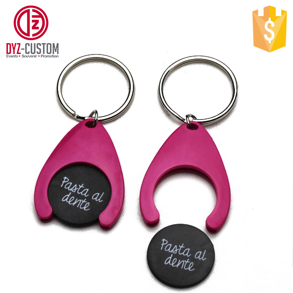 Customized Plastic Trolley Coin Keyring Shopping cart key chain