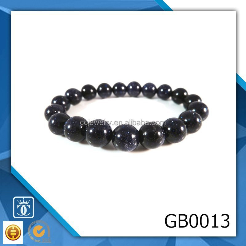 Jewelry Manufacturer Blue Goldstone Stretch Bracelet 9mm to 10mm Dark Blue Sparkling Sand Stone Smooth Round Beads China
