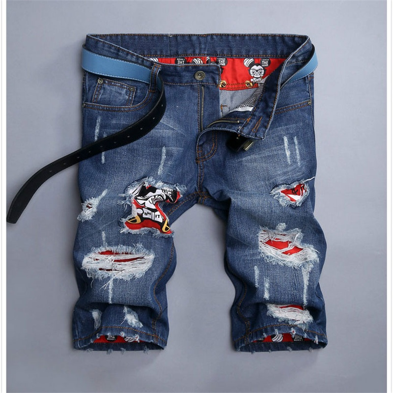 Fashion Summer Printed Jeans Men Shorts Brand Casual Cotton Men's Jeans Shorts With Skull Pattern Mens Denim Jeans Men TS154