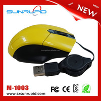 New promotional 3d usb wired mini optical mouse with retractable cable
