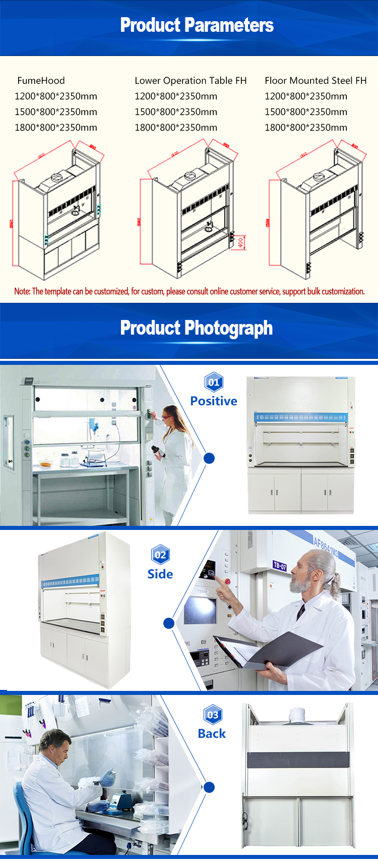 Stainless steel structure Lab Chemical Fume Hood for 1 person working laboratory furniture price
