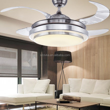 110V nordic simple remote control stealth ceiling fan with LED lights chandelier for restaurant