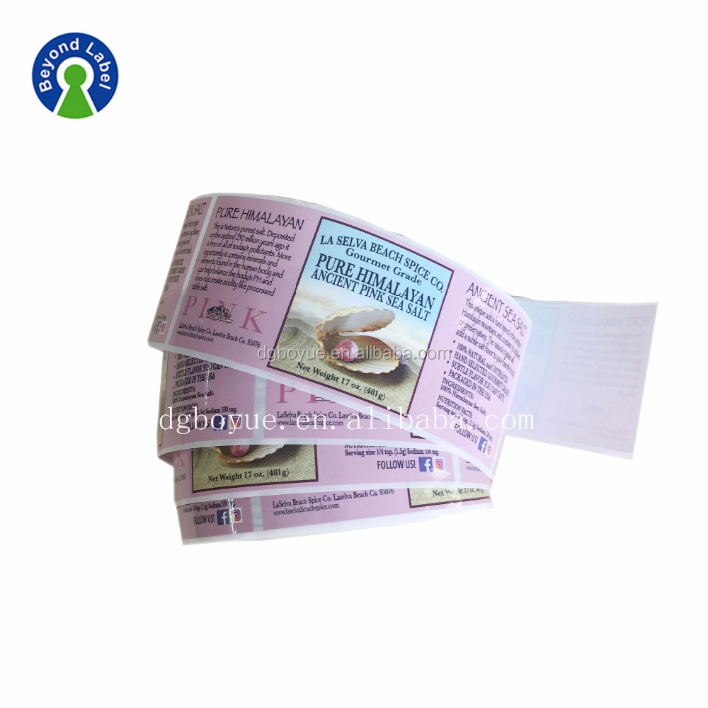 High Quality Prepared roll vinyl Food PP Adhesive Sticker Label,Salt sauce Bottle stickers