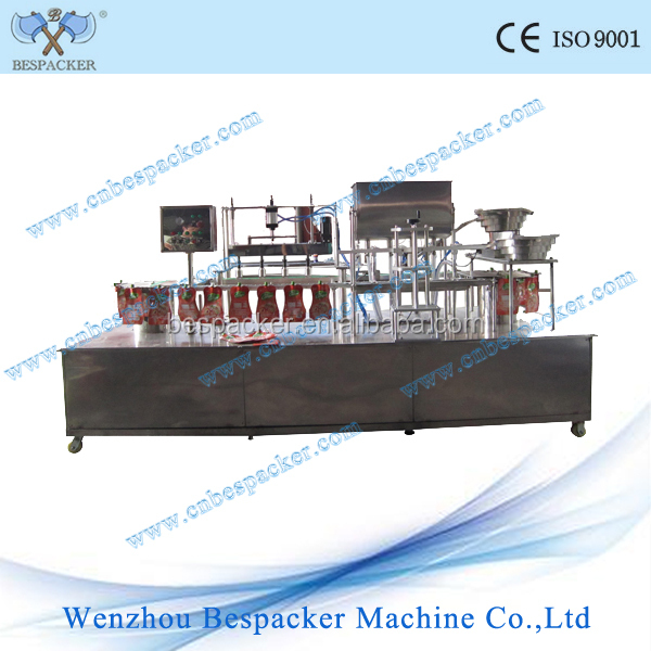 Auto multi color pudding filling sealing machine with 4 nozzles