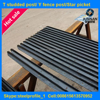 Bitumen painted metal studded t-post fence post price from 0.83bl/feet to 1.33bl/feet