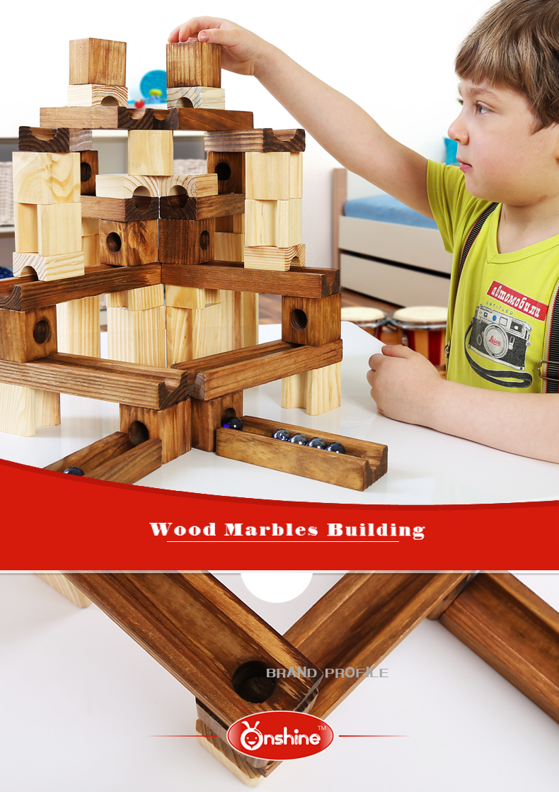 60pcs wood grain block set marbles creative building block children educational toy