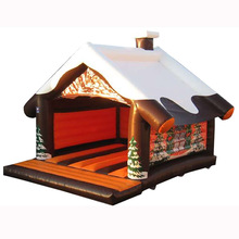 log cabin inflatable snow bungalow bouncer jumper, giant Christmas Cottage inflatable jumping bouncy castle bounce house