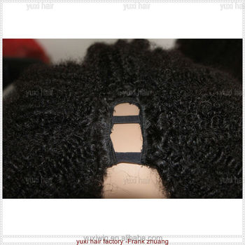 natural black Virgin unprocessed afro kinky curly human hair U part wig