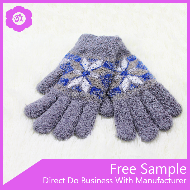 Hot Sales Warm Winter Wholesale Knit Child Jacquard Gloves With Fingers