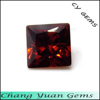 4x4mm Square Shape garnet color zirconia stone
