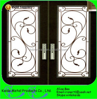 French simple wrought iron grill inserts for door